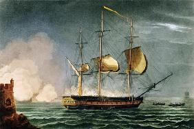Cutting out of the Hermione from the Harbour of Porto Cavallo, October 25th 1799, from 'The Naval Ac 17th