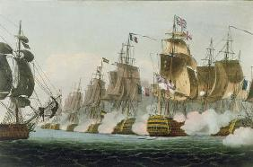 The Battle of Trafalgar, 21st October 1805, engraved by Thomas Sutherland for J. Jenkins's 'Naval Ac 1666