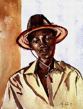Boy in Fulani Hat, 1991 (w/c on paper)