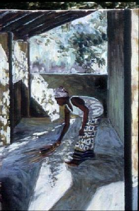 Girl Sweeping I, 2002 (oil on canvas) (see also 188680-681)