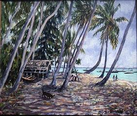 Rustling Palms, Zanzibar, 2002 (oil on canvas)