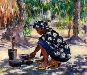 Woman Cooking, 2004 (oil on canvas)