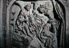 Tomb of Henri II (973-1024) and his wife Kunigunde, detail of the Emperor operated on by St. Benedic 1499-1513