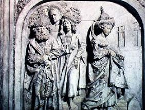 Tomb of Henri II (973-1024) and his wife Kunigunde, detail of Kunigunde's trial by fire on suspicion 1499-1513