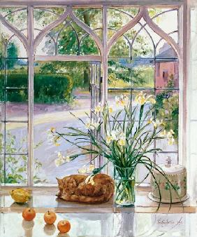 Irises and Sleeping Cat, 1990