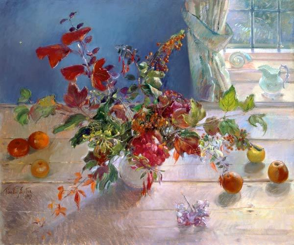 Honeysuckle and Berries, 1993 (oil on canvas)  1993