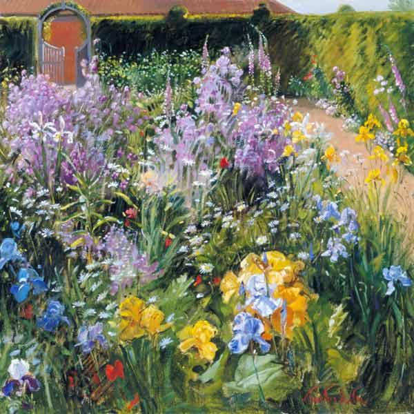 Sweet Rocket, Foxgloves and Irises, 2000 (oil on canvas)