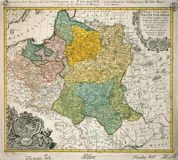 polen landkarte von mayer 1750 tobias mayer als kunstdruck oder handgemaltes gem lde. Black Bedroom Furniture Sets. Home Design Ideas