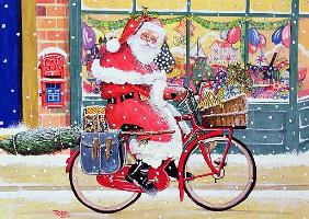 Father Christmas on a Bicycle (w/c)