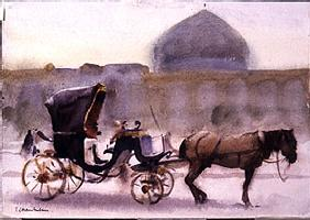 Horse and Carriage, Naghshe Jahan Square, Isfahan (w/c on paper)