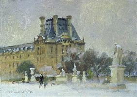 Snow in the Tuilleries, Paris, 1996 (oil on canvas)