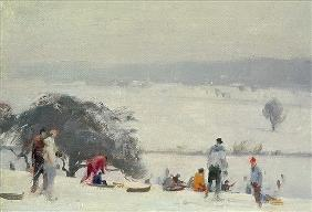 Tobogganing, The Meads, Hertford (oil on canvas)