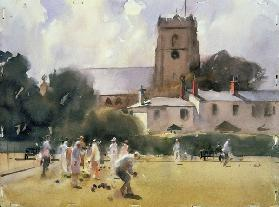 Bowls Match, Sidmouth (w/c on paper)