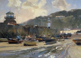 Harbour Light, St. Ives (oil on canvas)