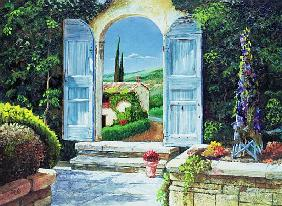 Shuttered Doorway, Volterra, Italy, 1999 (oil on board)