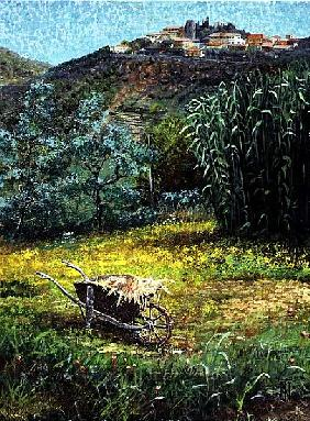 Wheelbarrow, Montecatini, Tuscany (oil on canvas)