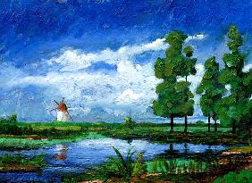 Windmill, Holland, 2006 (oil on board)