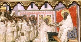 St. Benedict hands over the Rule of the New Order to the Monks of Monte Cassino (tempera on panel) 1889