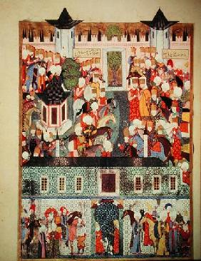 H 1517 f.17v Enthronement of Suleyman the Magnificent (1494-1566) from the 'Suleymanname' by Arifi 1558