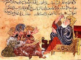 Aristotle teaching. illustration from 'The Better Sentences and Most Precious Dictions' by Al-Moubba 13th centu