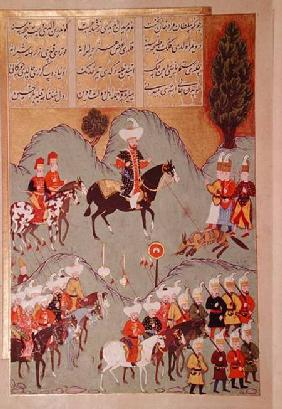 Sultan Murad I (c.1326-1389) hunting a wolf, from 'Hunernama' (Mss Hazine. 1524 f.83v) 1588