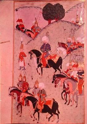 TSM H.1339 Sultan Selim II (1524-74) riding between Kotahia and Belgrade to rejoin the Imperial Army 1584-89