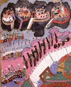 TSM H.1524 The Forces of Suleyman the Magnificent (1484-1566) Besieging a Christian Fortress, from t 1588