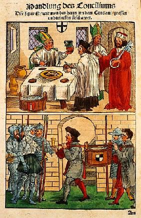 How the bread and wine were distributed to the people during the Council of Constance, from ''Chroni