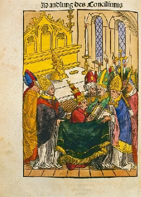 Martin V is installed as Pope at the Council of Constance, from ''Chronik des Konzils von Konstanz''