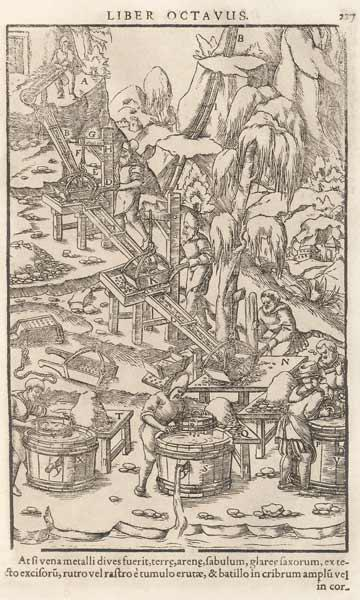 Illustration aus De re metallica libri XII von Georgius Agricola 1556