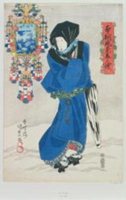 Japanese Woman in the Snow (colour woodblock print) 1780
