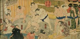 One of eight views of Kanjin Sumo, pub. by Tsutaya, 19th century, (triptych, oban size, colour woodb 1780