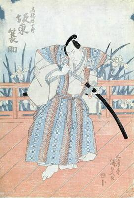 The Actor Bando Tokuke as Takahastu Yajuro, a Samurai (woodblock print) 1780