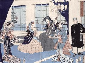 The salon of a house of foreign merchants at Yokohama, 1861 (colour woodblock print) 15th