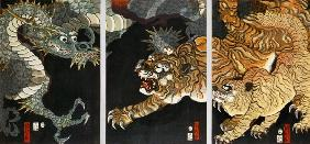 A dragon and two tigers