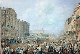 Military Review on the Nevsky Avenue at the Beloselsky-Belozersky Palace 1859  on