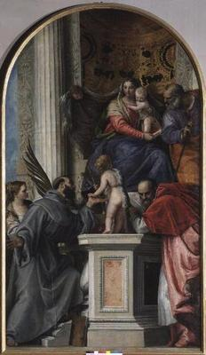 Madonna and Child Enthroned, St. John the Baptist as a Boy, St. Joseph, St. Jerome, St. Justinia and 18th