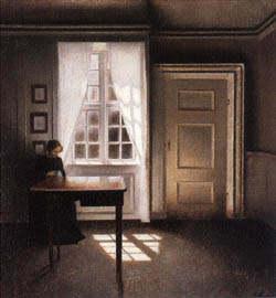 Interieur kunst  Interieur mit nähender Frau - Vilhelm Hammershoi als Kunstdruck ...