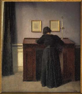 Interieur mit junger Frau am Klavier Kunstpostkarte Vilhelm Hammershöi