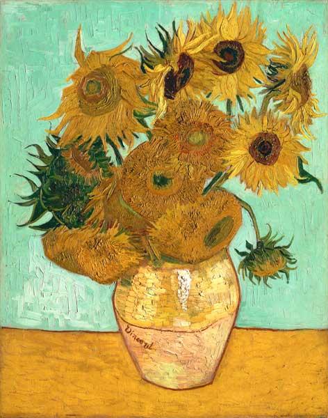 Zwölf Sonnenblumen In Einer Vase Mit Grü Vincent Van Gogh Als