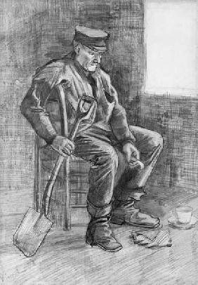 Man with a Spade Resting 1882 cil &