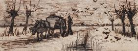 Ox-Cart in the Snow, from a Series of Four Drawings Symbolizing the Four Seasons (pencil, pen and br 19th