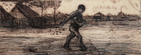 The Sower, from a Series of Four Drawings Symbolizing the Four Seasons (pencil, pen and brown 19th