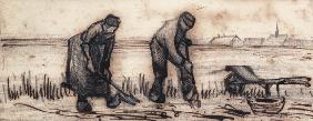 The Potato Harvest, from a Series of Four Drawings Symbolizing the Four Seasons (pencil, pen and bro 19th