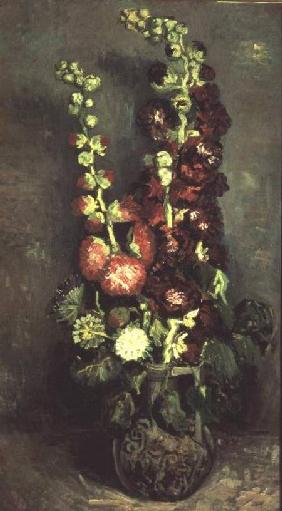 Vase of Hollyhocks 1886