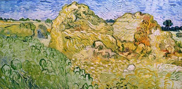 V.v.Gogh, Field w.Wheat Stacks/Ptg./1890