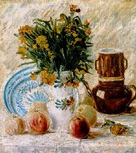 Vase of flowers with a coffee pot and fruit 1887