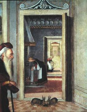 The Birth of the Virgin, detail of servants in the background 1504-08