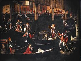 Gondoliers on the Grand Canal, detail from The Miracle of the Relic of the True Cross on the Rialto 1494