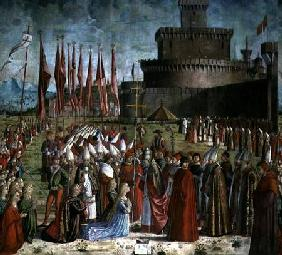 The Pilgrims Meet Pope Cyriac before the Walls of Rome, from the St. Ursula Cycle 1498
